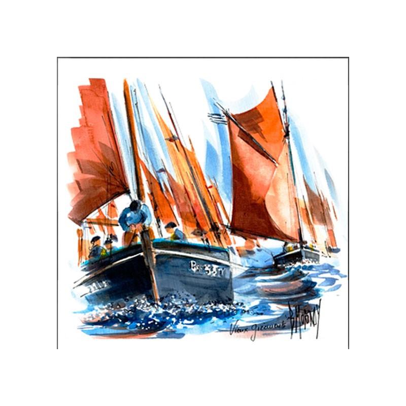 Digigraphie® en toile canvas avec  cadre de bernard Morinay : Vieux gréement