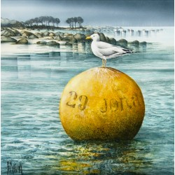Digigraphie® en toile canvas avec  cadre de bernard Morinay : Jonathan attend