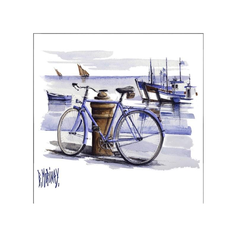 Digigraphie® en toile canvas avec  cadre de bernard Morinay : Bicyclette bleue