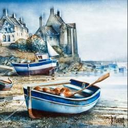 Digigraphie® en toile canvas avec  cadre de bernard Morinay : Le Conquet Bleu