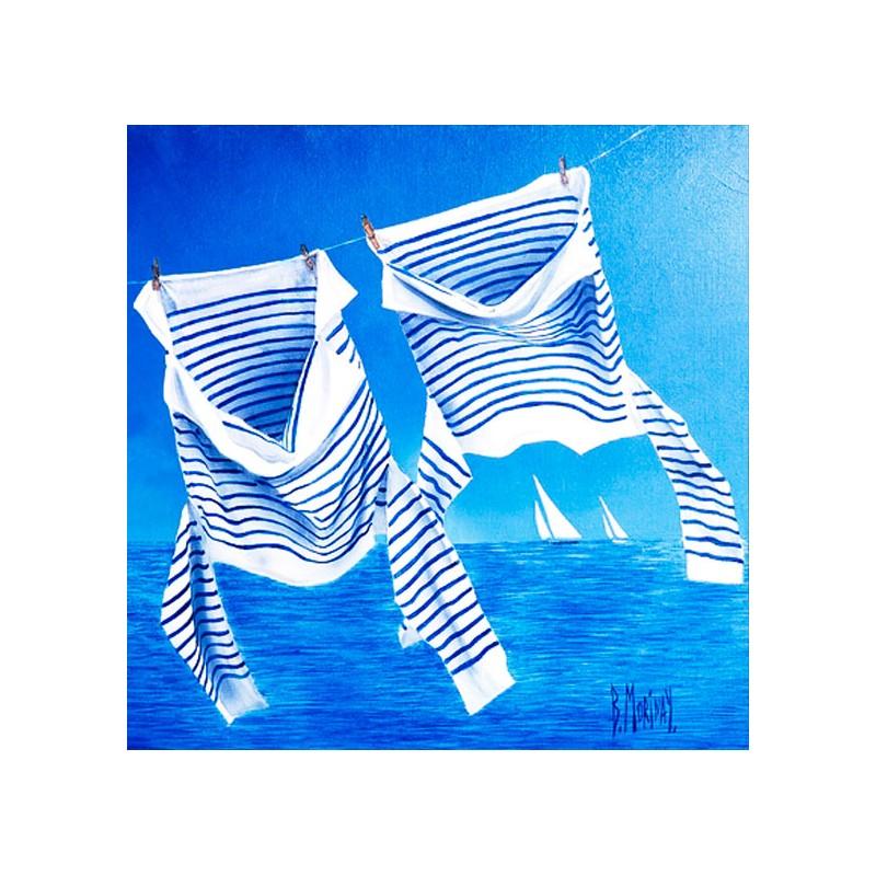 Digigraphie® en toile canvas avec  cadre de bernard Morinay : Les Marinières