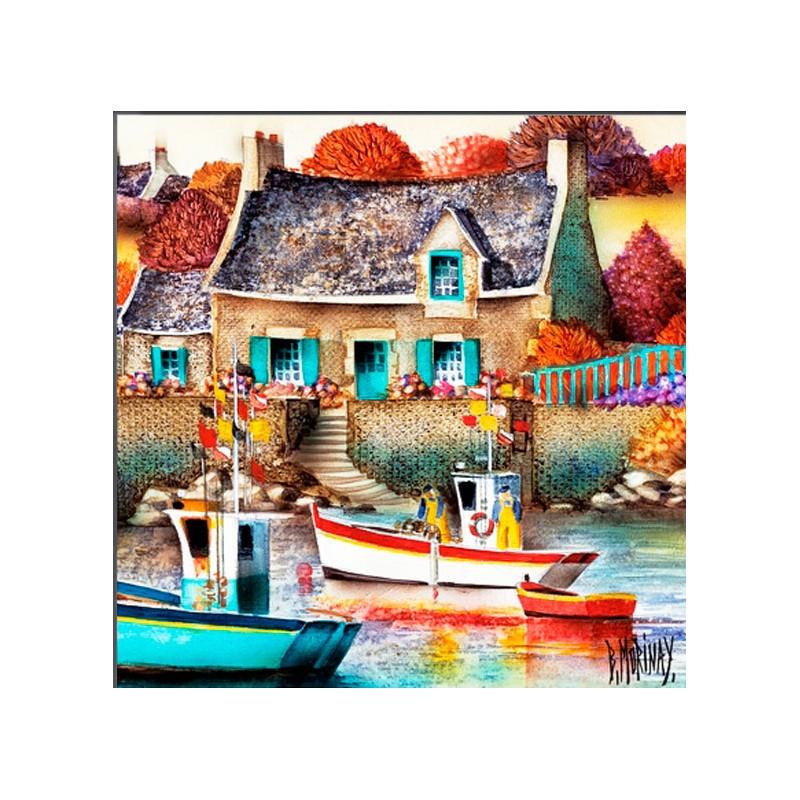Digigraphie® en toile canvas avec  cadre de bernard Morinay : Maison de Benoite