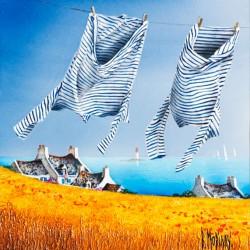 Digigraphie® en toile canvas avec  cadre de bernard Morinay : Marinières au vent