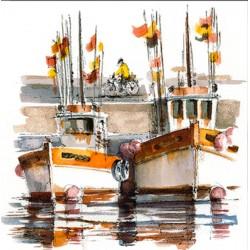 Digigraphie® en toile canvas avec  cadre de bernard Morinay : Ocre rouille