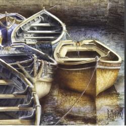 Digigraphie® en toile canvas avec  cadre de bernard Morinay : Barque Ocre