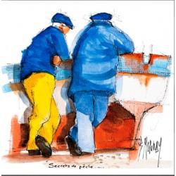 Digigraphie® en toile canvas avec  cadre de bernard Morinay : Secret de pêche
