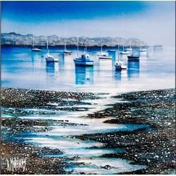Digigraphie® en toile canvas avec  cadre de bernard Morinay : Sillon bleu