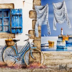 Digigraphie® en toile canvas avec  cadre de bernard Morinay : un air été