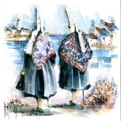 Digigraphie® en toile canvas avec  cadre de bernard Morinay : balade bigoudene