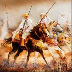 Digigraphie® en toile canvas avec  cadre de bernard Morinay : Les deux cavaliers