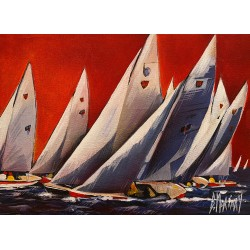 toile Bernard Morinay régate rouge