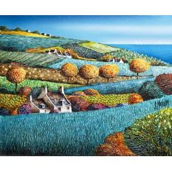 Bernard Morinay toile variation turquoise