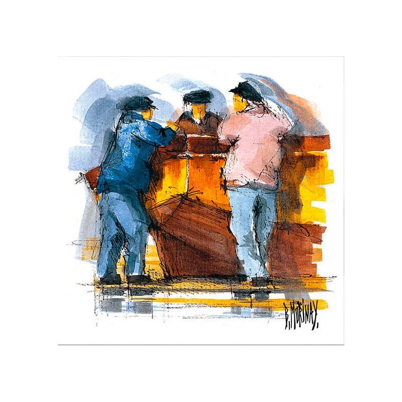 Digigraphie® en toile canvas avec  cadre de bernard Morinay : Barque jaune
