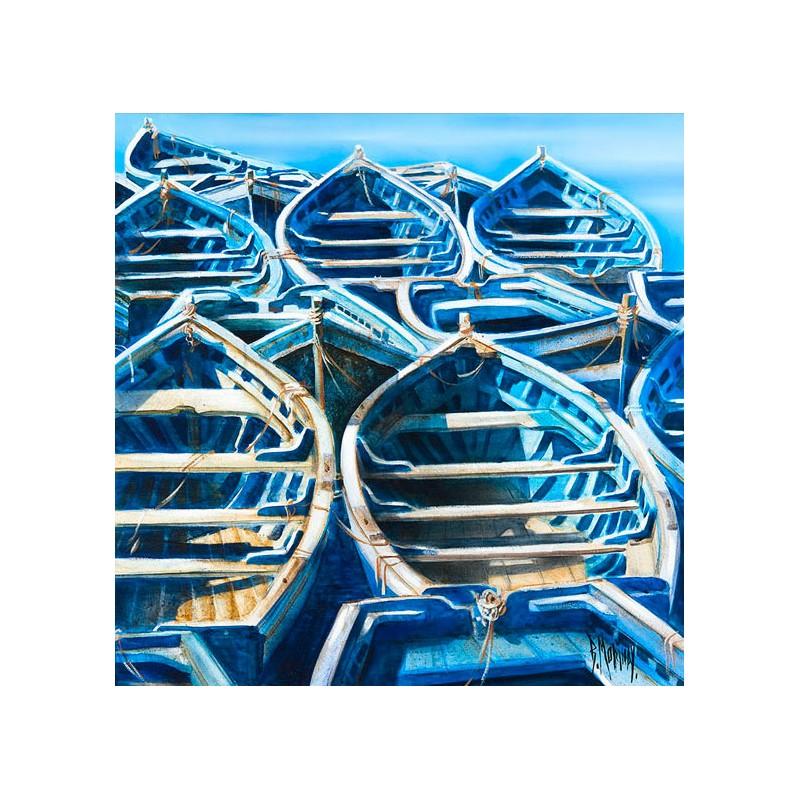 Digigraphie® en toile canvas avec  cadre de bernard Morinay : Bleu Turquoise