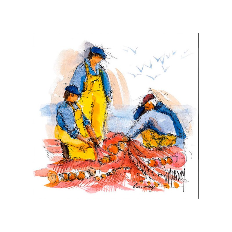 Digigraphie® en toile canvas avec  cadre de bernard Morinay : Ramendage