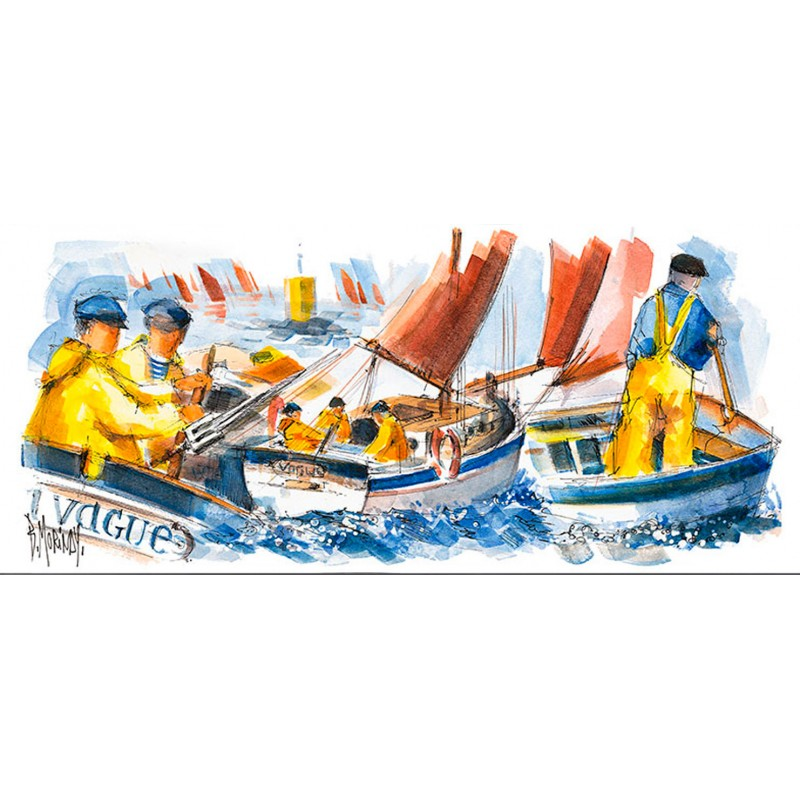 Digigraphie® en toile canvas avec  cadre de bernard Morinay : Vagues