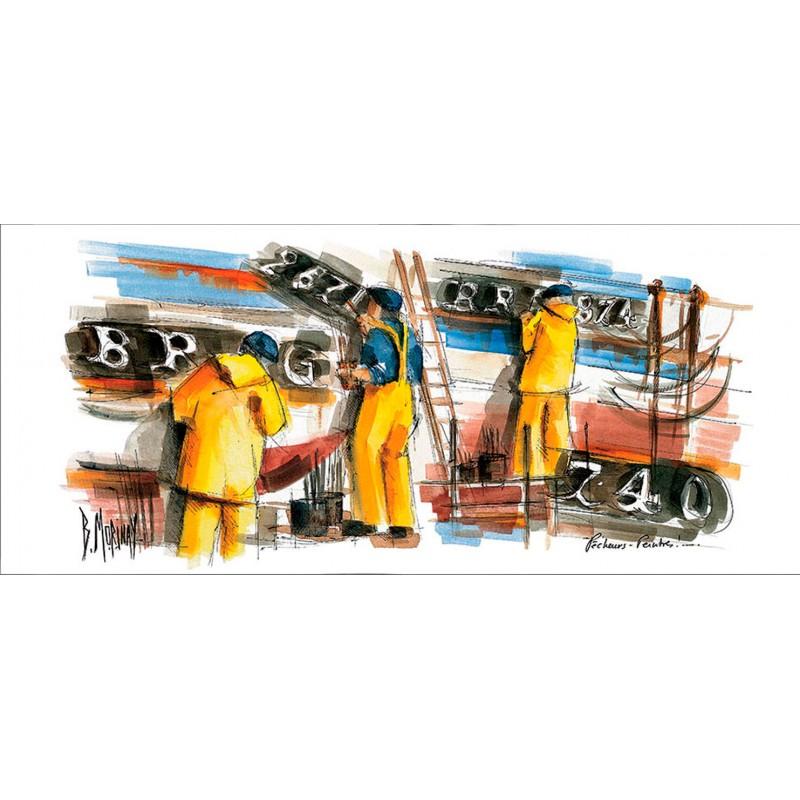 Digigraphie® en toile canvas avec  cadre de bernard Morinay : Pêcheurs
